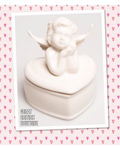 Cute Sass & Belle Shabby Chic Ceramic Angel Jewellery Box